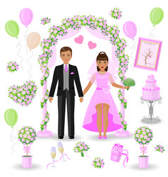 wedding decorations in pink color vector image