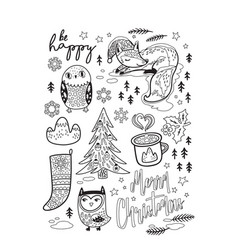 black and white winter postcard in cartoon style vector image vector image