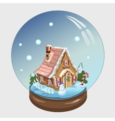 Christmas ball with house and decor inside it vector image vector image