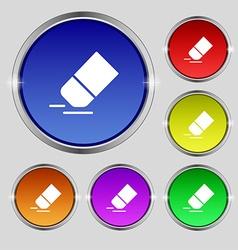 Eraser rubber icon sign round symbol on bright vector
