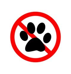 No Animal Paw Sign vector image vector image