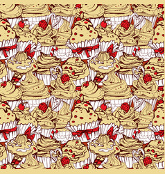 seamless pattern with hand drawn decorated sweet vector image