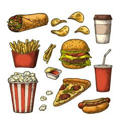 set fast food cup cola coffee hamburger pizza vector image