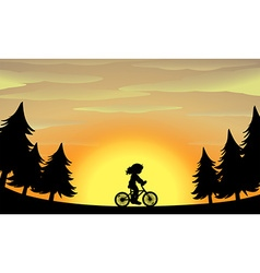Silhouette girl riding bike in the park vector image