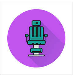 Barber chair simple icon on circle background vector