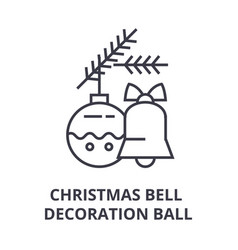 christmas bell decoration ball line icon outline vector image