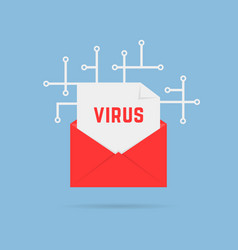 e-mail with virus like cyber attack vector image