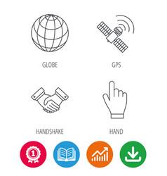Handshake globe and gps satellite icons vector
