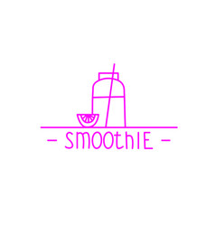pink smoothie - hand drawn brush text badge vector image vector image