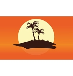 Summer silhouette beautiful islands vector