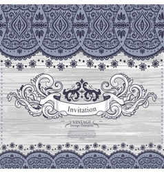 Wedding Invitation with lace decoration vector image