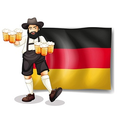 A man holding a beer in front of a flag vector image