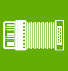 Accordion icon green vector