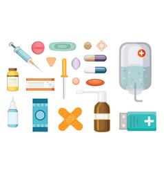 cartoon medicaments different medical pills and vector image