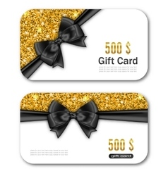 Gift Card Template with Golden Dust Texture and vector image vector image
