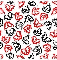 Red and black heart tattoos seamless pattern vector image