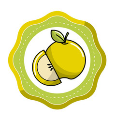 sticker green apple fruit icon stock vector image vector image