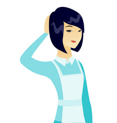 young asian cleaner scratching her head vector image vector image