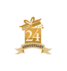 24 years gift box ribbon anniversary vector image
