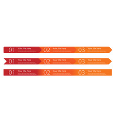 3 steps arrows template in 3 versions vector image