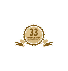 33 years ribbon anniversary vector