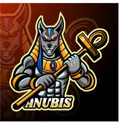 Anubis esport logo mascot design vector