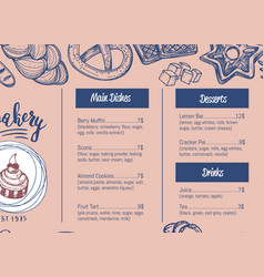 Bakehouse hand drawn restaurant menu brochure vector