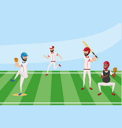 Baseball players team in the field competition vector