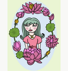 beauty girl and lotus flower vector image