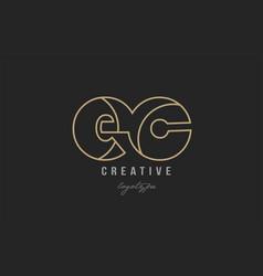 Black and yellow gold alphabet letter ec e c logo vector