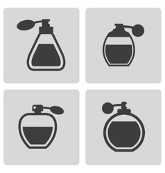 black perfume icons set vector image