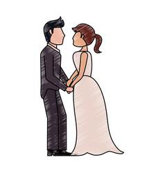 bride and fiance cartoon vector image