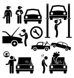 Car repair services workshop mechanic stick vector