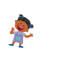 cartoon character of a cheerful black girl vector image