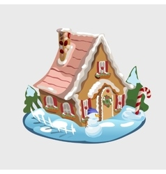 Christmas gingerbread house and decorations around vector