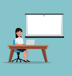 Color background executive woman sitting in desk vector
