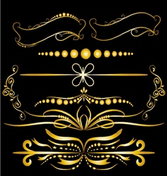 Color Gold Vintage Decorations Elements Flourishes vector image