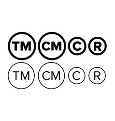 Copyright and registered trademark icon set vector