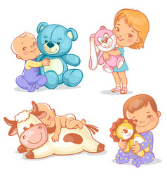 cute kids with plush toys vector image
