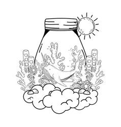 cute narval in mason jar vector image