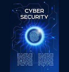 cyber security concept poster fingerprint vector image
