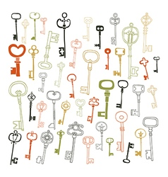 Decorative vintage keys doodles vector