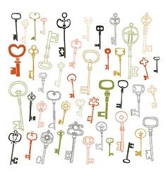 Decorative vintage keys doodles vector image