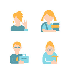 Different age and gender flat color icon set vector