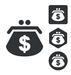 Dollar purse icon set monochrome vector image