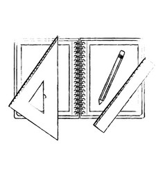 drawing tools and notebook in black blurred vector image