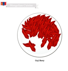 Dried goji berry a popular fruit in mongolia vector