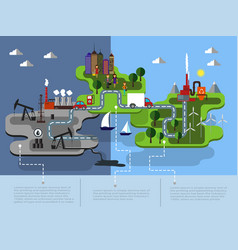 eco islands of green energy vector image