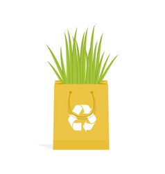 eco recycle bag green set vector image