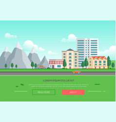 Ecofriendly town mountains - modern vector